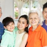 Portrait of Multi-Generation Chinese Family Relaxing at Home Tog
