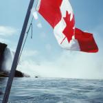 Canadian national flag by Niagara Falls, Canada