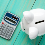 Piggy Bank and Calculator,Top View